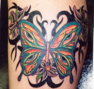 Awesome Colourful Butterfly Tattoo
