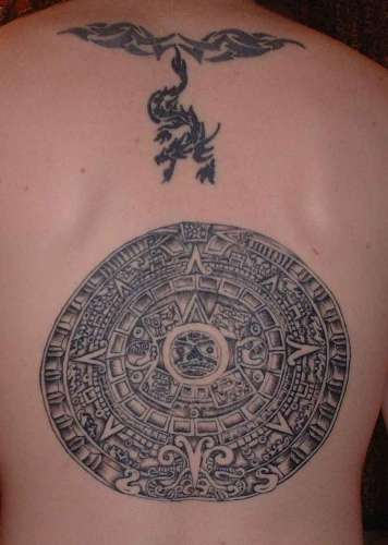 Round Aztec Tattoo with Dragon