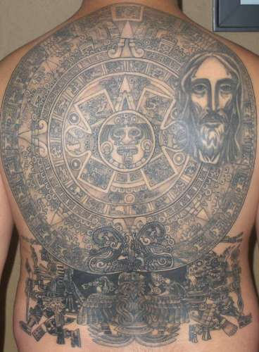 Big Aztec Tattoo on Back of Body
