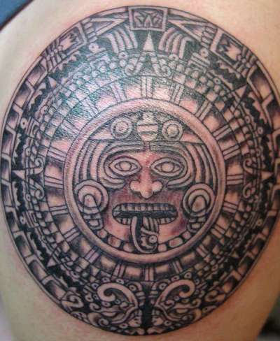 Black Big Aztec Tattoo on Back
