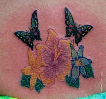 Awesome Butterlfy with Flowers Tattoo