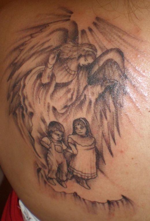 Angel with there Children Tattoo