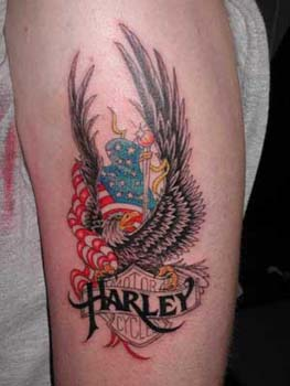 Harley Davidson Eagle Bike Tattoo on Bicep