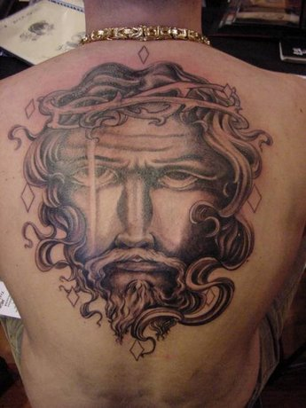 Jesus Face on Back - Christian Tattoo