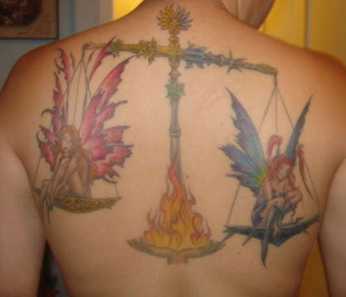 Libra Tattoo With Angels on Back