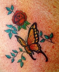Red Rose with Beautiful Butterfly Tattoo