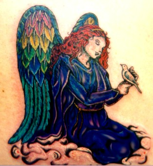 Awesome Angel With Sparrow Tattoo