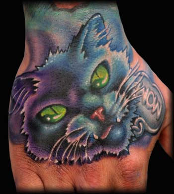 Cute Colourful Cat Tattoo on Hand