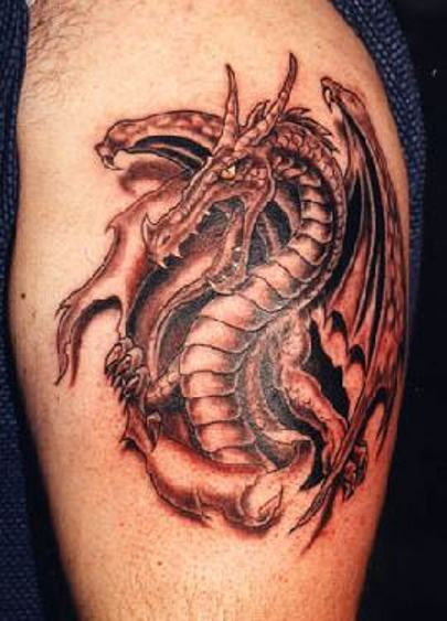 Scary Dragon Tattoo on Bicep