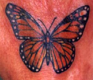 Nice Blue and Red Butterfly Tattoo