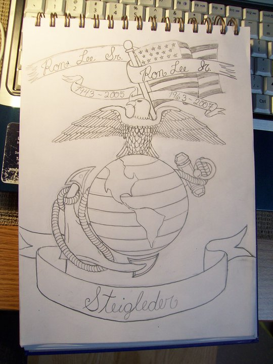 Sketching of Eagle Sitting on Earth - Eagle Tattoo