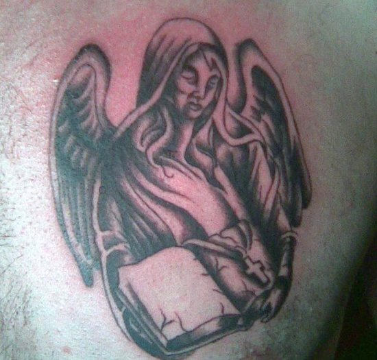 Angel with Bible - Christian Tattoo