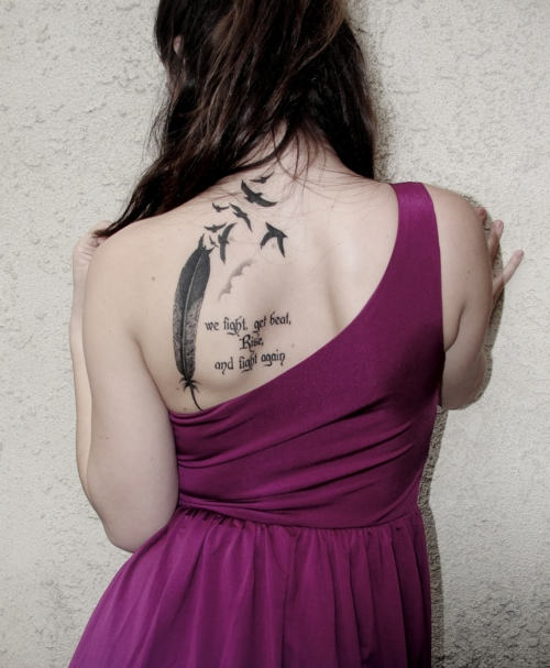 Flock with Eagle Tattoo on Back - We fight get beat rise and Fight again