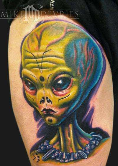 Alien Female Face Tattoo