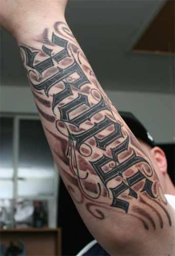 Ambigram Full Arm Tattoos