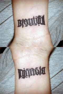 Ambigram Tattoos On Wrist
