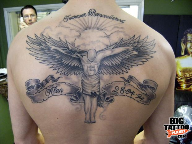 Angel Flying Tattoo On Back