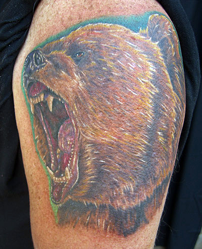 Angry Face  Bear Tattoo