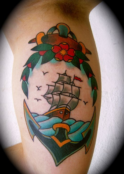 Attractive Anchor Tattoo On Muscles