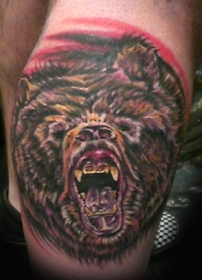 Bear Angry Face Tattoo