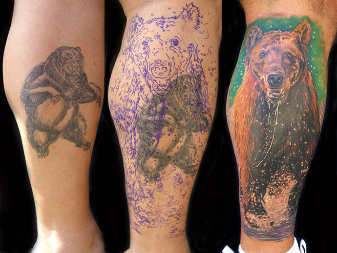Bear Cover Up Tattoo