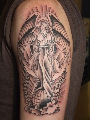Beautiful Colour Angel Tattoo