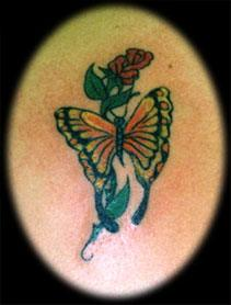Butterfly And Red Rose Tattoo