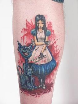 Cat And Girl  Tattoo On Leg