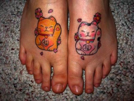 Cat Couple Tattoos On Feet