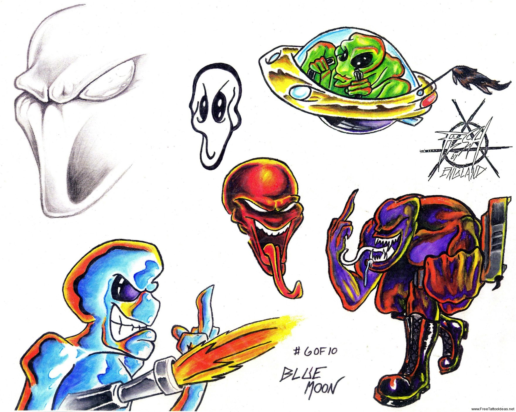 Colorful Alien Tattoos For Boys