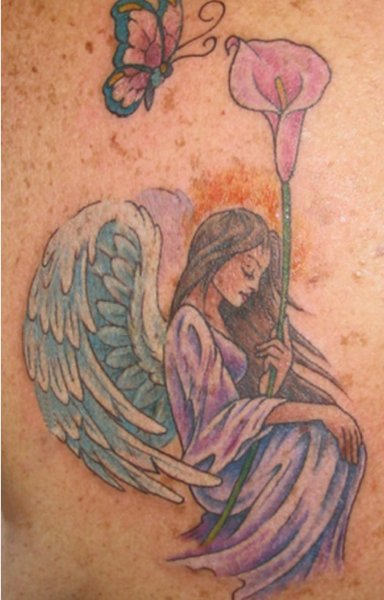 Colorful Angel and Butterfly Tattoo
