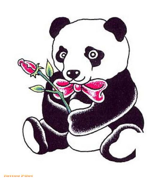 Cute Bear With Rose Tattoo Style