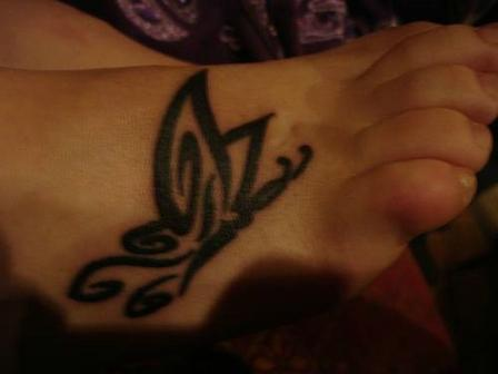 Elegant Butterfly Tattoo For Foot