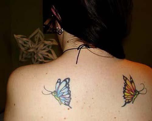 Flying Butterflies Tattoos On Back