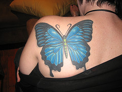 Glorious Blue Butterfly Tattoo