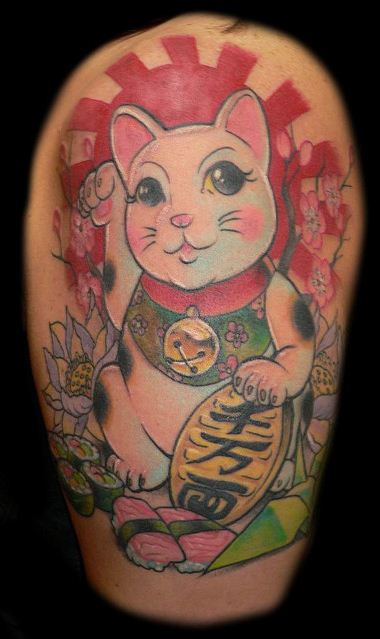 Japanese Lucky Cat Tattoo
