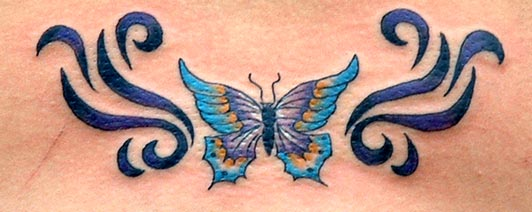 Lovely Blue Butterfly Tattoo Design