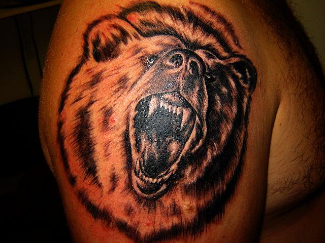 Open Mouth  Bear Tattoo