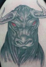 Red Eyes Aggressive Bull Tattoo