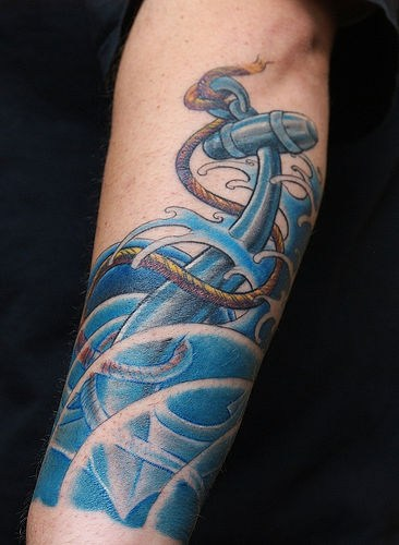 Sinking Anchor Tattoo On arm