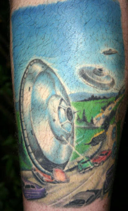 Spaceship's Striking On Earth Tattoo
