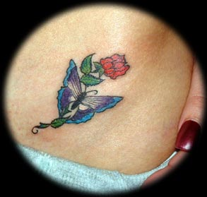 Sweet Butterfly Tattoo with Red Rose
