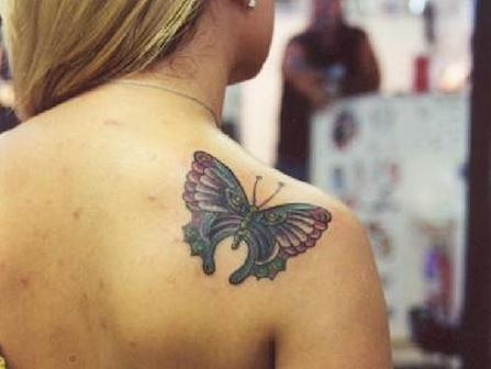 Trendy Butterfly Tattoo On Shoulder
