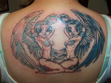 Two Cute Angels Tattoo Picture