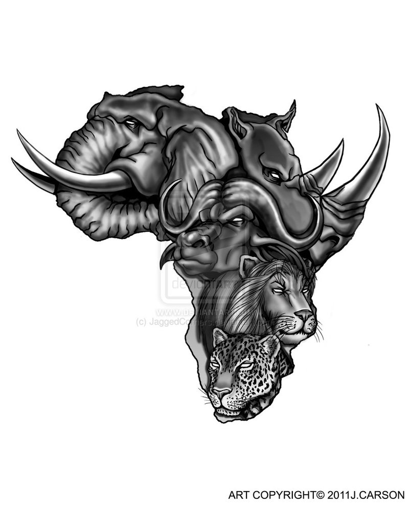 African Animals Face Tattoo