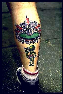 Alien And Spaceship Tattoo On Leg