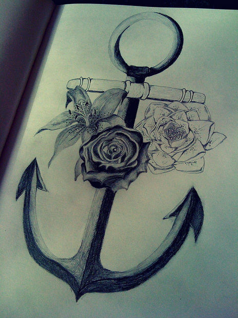 Amazing Anchor Symbol With Roses Tattoo