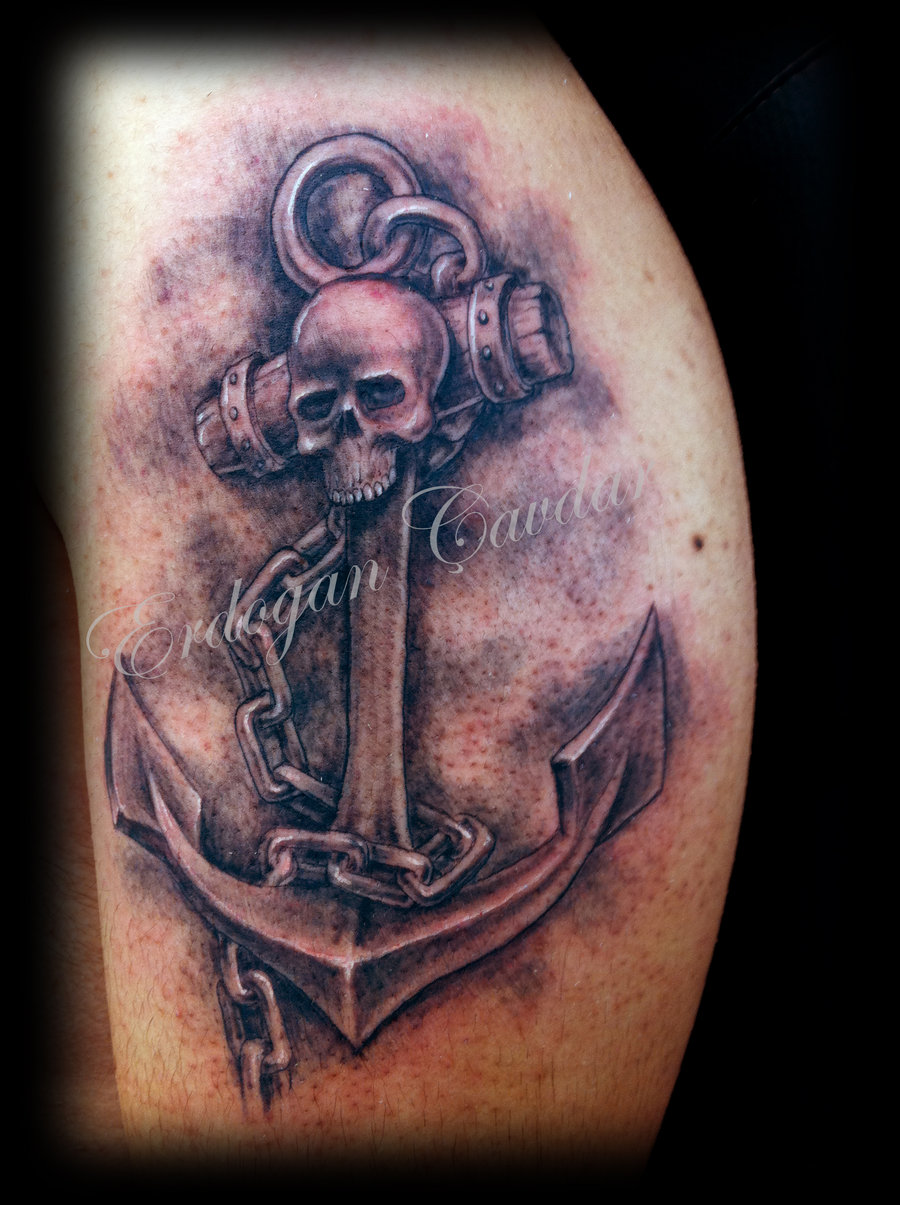 Amazing Anchor Tattoo With Chain & Skull Face