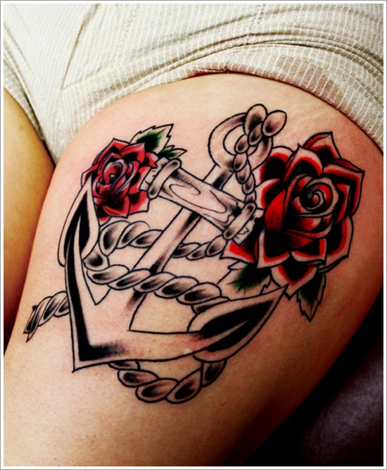 Amazing Anchor Tattoo With Roses & Rope