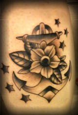 Amazing Anchor With Flower & Stars Tattoo